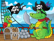 Pirate crocodile theme 2 Royalty Free Stock Image