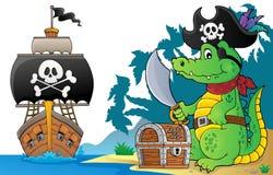Pirate crocodile theme 6. Eps10 vector illustration vector illustration