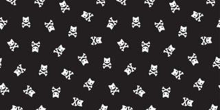 Pirate crossbones Seamless Pattern cat kitten Halloween pirate black wallpaper background. Pirate crossbones Seamless Pattern cat kitten Halloween pirate black royalty free illustration