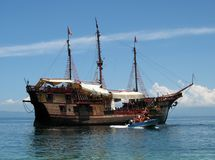 Pirate Cruise Ship. Photo of pirate cruise ship south of Puerto Vallarta Mexico.  This ship takes vacationers to beautiful and secluded beaches Royalty Free Stock Image