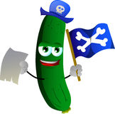 Pirate cucumber or pickle with blank paper and pirate flag Royalty Free Stock Photography