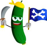 Pirate cucumber or pickle with sword and pirate flag Royalty Free Stock Images