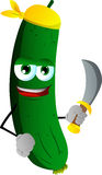 Pirate cucumber or pickle with sword Royalty Free Stock Photos