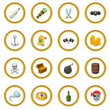 Pirate culture symbols icons circle Royalty Free Stock Photography