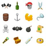 Pirate culture symbols icons set, cartoon style Royalty Free Stock Image