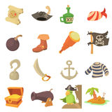 Pirate culture symbols icons set, cartoon style Royalty Free Stock Photos