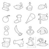 Pirate culture symbols icons set, outline style Stock Photo