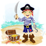 Pirate. Cute cartoon piratee character with hook, sword and treasure chest Stock Images