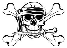 Pirate with dagger. Vector image pirate with dagger and crossbone Stock Images