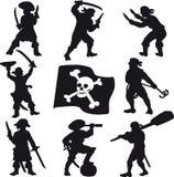 Pirate des silhouettes d'équipage Photo libre de droits