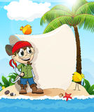 Pirate on a desert island Royalty Free Stock Image