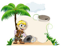 Pirate on a desert island Royalty Free Stock Images