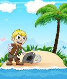 Pirate on a desert island Stock Images