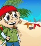Pirate on desert island Stock Image