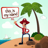 Pirate discover an island Stock Photography