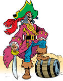 Pirate, dressed in a raincoat. Illustrations are man-pirate, he is dressed in a beautiful rich clothes.It relies on a barrel of wine with his foot Stock Photos