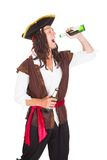 Pirate Drinking Beer Royalty Free Stock Photos