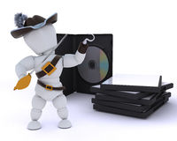 Pirate with DVD software Stock Photos