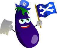 Pirate eggplant with blank paper and pirate flag Stock Photos