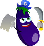 Pirate eggplant with blank paper and sword Stock Photography
