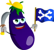 Pirate eggplant with sword and pirate flag Stock Images