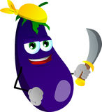 Pirate eggplant with sword Stock Photography