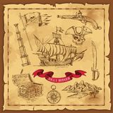 Pirate Elements Hand Drawn Concept. With treasure chest and weapon on old paper with frame vector illustration Stock Photos