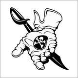Pirate emblem - black mark. A hand holding a coin. Vintage black emblem. Vector pirate badge Stock Photo