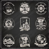 Pirate emblems blackboard chalk set Royalty Free Stock Photography