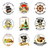 Pirate emblems stickers set Royalty Free Stock Photography