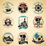 Pirate emblems vintage old paper set Royalty Free Stock Image