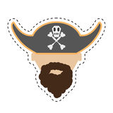 Pirate face beard hat with skull bones cut line Stock Photos