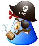 Pirate face on cone. Illustration Royalty Free Stock Photo