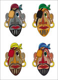 Pirate faces cartoon color mask. Pirate faces cartoon color mask isolated on white Stock Image