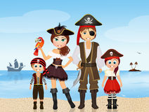 Pirate family on the island Stock Photos