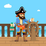 Pirate. Filibuster captain at helm of ship Royalty Free Stock Images