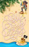 A pirate finding treasure maze game vector illustration