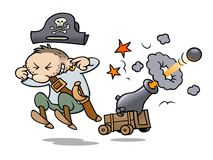 Pirate firing his cannon. A toon pirate holding his ears while firing a cannon Stock Images