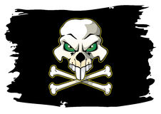 Pirate flag. Skull with bones on torn pirate flag Royalty Free Stock Photo