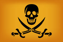 Pirate Flag. Illustration of pirate flag with black skull over sun color tones Stock Photos