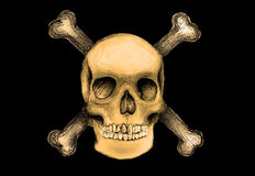 Pirate flag. A pirate skull and crossbones illustration Royalty Free Stock Photography