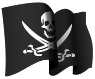 Pirate flag. Skull and crossed swords pirate flag Royalty Free Stock Photo