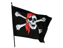 Pirate flag. Skull and cross bones pirate flag isolated on white background Stock Image