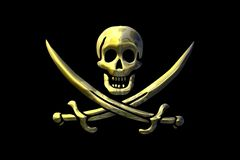 Pirate flag. Skull and swords over a black background Royalty Free Stock Photos