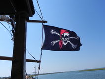 Pirate Flag. On a pirate ship with a blue sky Stock Photography