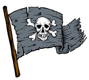 Pirate Flag. Weathered pirate flag blowing in wind Royalty Free Stock Image