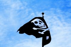 Pirate flag. Against blue sky Stock Photography