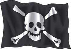 Pirate flag. Waving Pirate Emanuel flag isolated on white background Royalty Free Stock Images