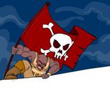 A pirate with a flag with a banner. A mad pirate attacking and holding a flag with skull; there is a banner for your text Stock Photography