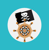 Pirate flag and boat wheel flat design Stock Image